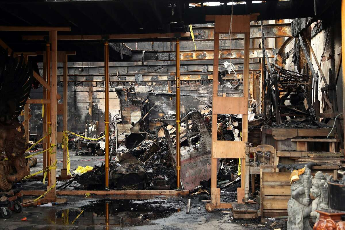 Interior of Ghost Ship warehouse 10 days after a fire claimed 36 victims. Photographed on 31st Avenue in Oakland, Calif., on Monday, December 12, 2016.