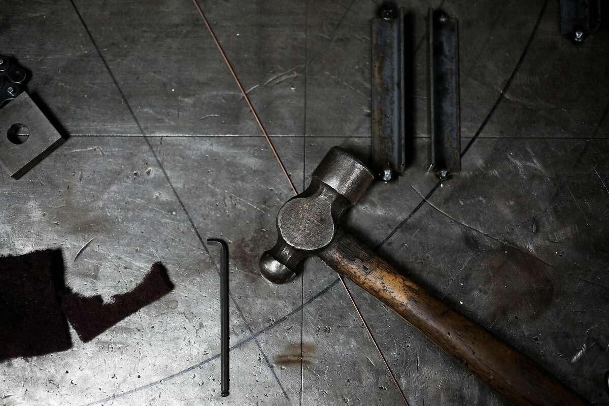 Tools are seen at artist Jon Sarriugarte's warehouse studio space in Oakland, California, on Monday, Dec. 12, 2016.