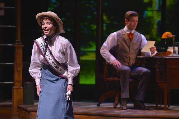 "Jerusha Abbott (Hilary Maiberger) describes her fightfor women's suffrage in a letter to Jervis Pendleton (Derek Carley) in TheatreWorks' ""Daddy Long Legs."""