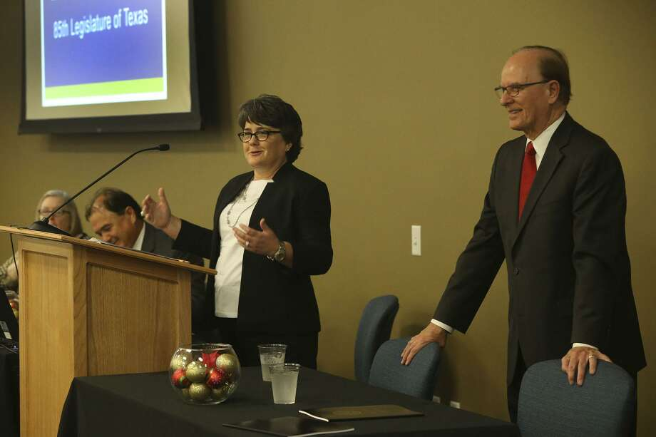 Bexar County Director of Govermental Affairs Melissa Shannon (at lectern) speaks Monday December 12, 2016 at the Bexar County Elections Office. Local county leaders met with area legislators to dicuss topics relevant to Bexar County before the start of the next legislative session. On the right is Bexar County Judge Nelson Wolff. Photo: John Davenport, Staff / San Antonio Express-News / ©San Antonio Express-News/John Davenport