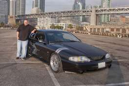 Photos of Christopher Peters and his 1998 Ford Mustang GT 5 Speed, photographed on Pier 30 near Red's Java Hut on Novenber 5, 2016