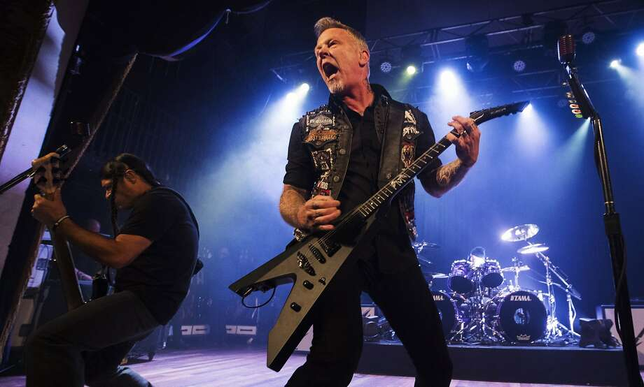Lead singer James Hetfield of Metallica performs at the Opera House, a small venue with a 950 person capacity, in Toronto, Tuesday, Nov. 29, 2016. Proceeds from the show will go to The Daily Bread Food Bank, an organization that helps combat hunger. (Mark Blinch/The Canadian Press via AP) Photo: Mark Blinch, Associated Press