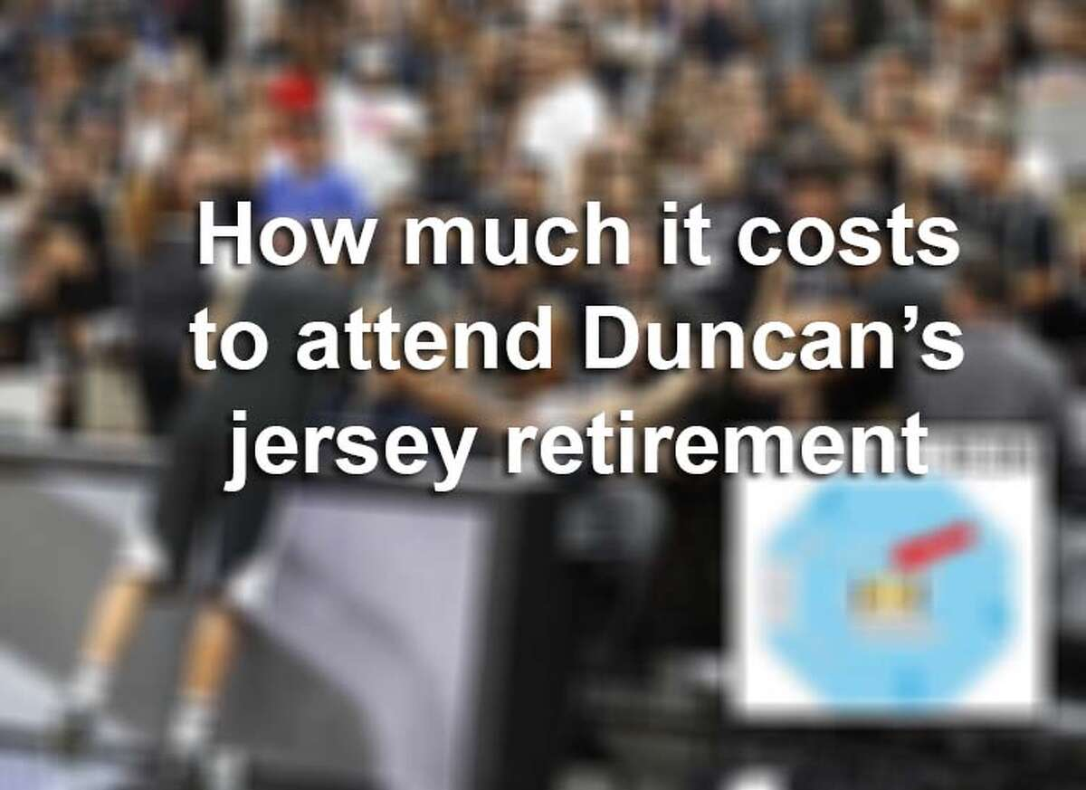 Click ahead to see how much you have to pay to grab a seat at Tim Duncan's jersey retirement.