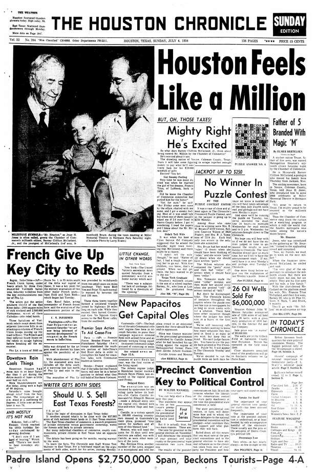 Houston Chronicle front page (HISTORIC) - July 4, 1954 - section A, page 1.  Houston Feels Like a Million. Mighty Right He's Excited (Barney Clifton McCasland). Father of 5 Branded With Magic 'M' Photo: HC Staff / Houston Chronicle