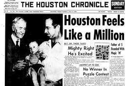 Houston Chronicle front page (HISTORIC) - July 4, 1954 - section A, page 1. Houston Feels Like a Million. Mighty Right He's Excited (Barney Clifton McCasland). Father of 5 Branded With Magic 'M'
