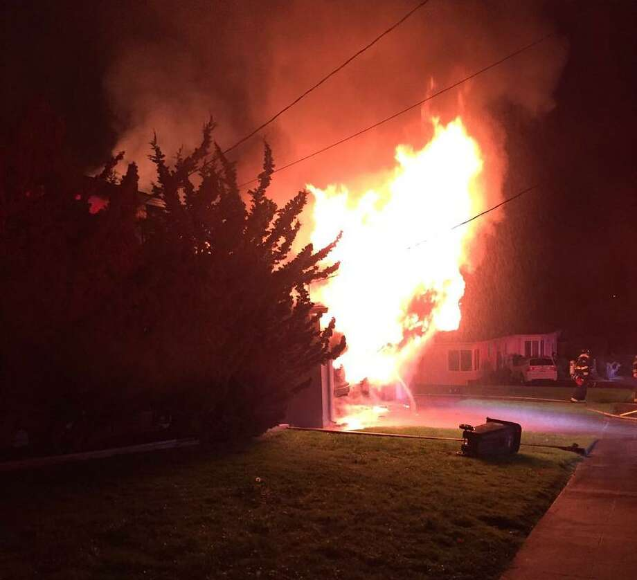 Officials are investigating arson as the cause of a Castro Valley house fire that killed a woman. Photo: Alameda County Fire Department / Alameda County Fire Department