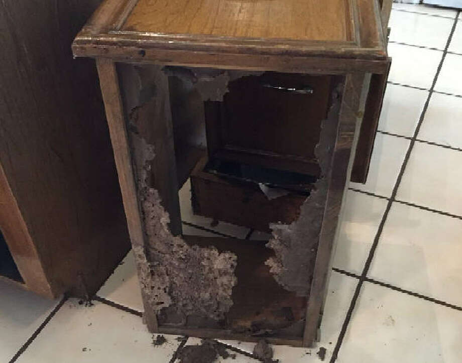 This kitchen drawer was allegedly damaged by termites, according to a Katy couple's lawsuit filed in October 2016 against Texas Certified Home Inspection. Photo: Courtesy Photo