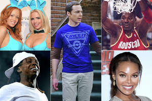 """Check out some of the famous faces who have attended the University of Houston over the years. From top left: Playboy model Kimberly Holland (on left), """"Big Bang Theory"""" star Jim Parsons, Houston Rockets star Hakeem Olajuwon, Miss USA Crystle Stewart, and rapper Lil' Wayne."""