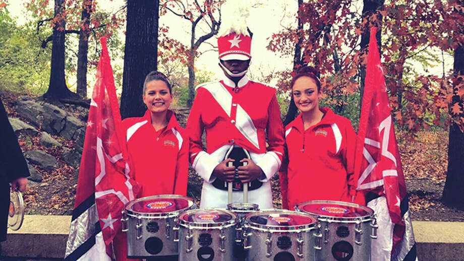 EHS juniors Erika Axtell, Marcus Kwasa and Maria Arzuagas at the Macy's Thanksgiving Day Parade. Photo: For The Intelligencer