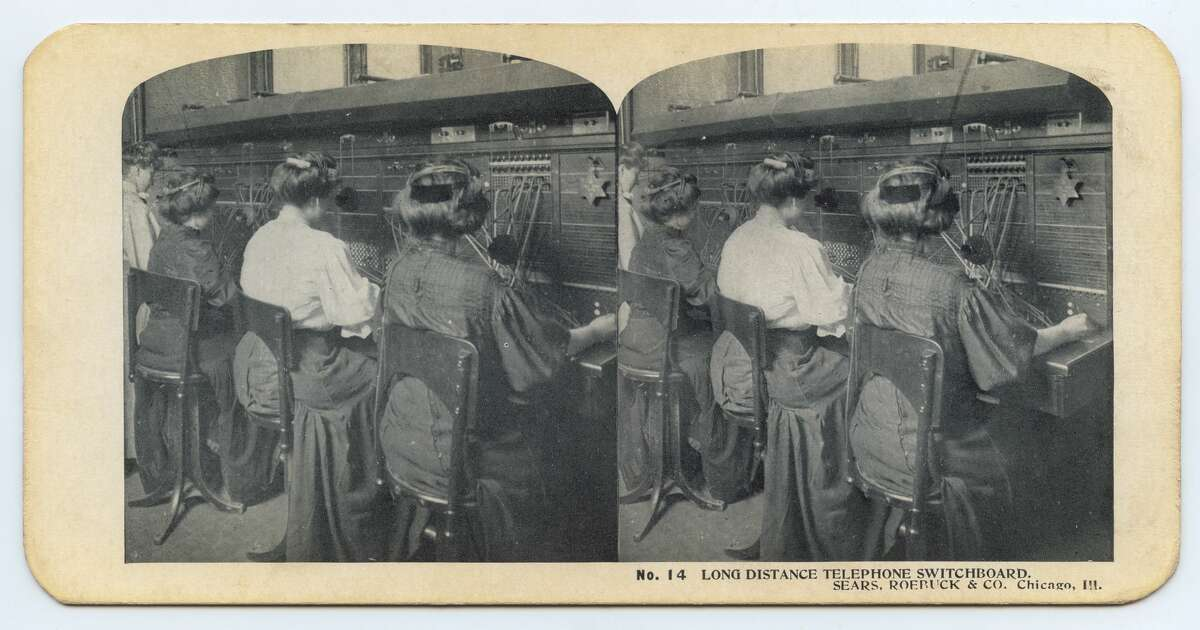 Stereoscopic view showing women at the great switchboard in the Sears Administration Building, Chicago, Illinois, circa 1900s. With rapid growth, the operators are in regular contact with factories and producers across the country. (Photo by Interim Archives/Getty Images)