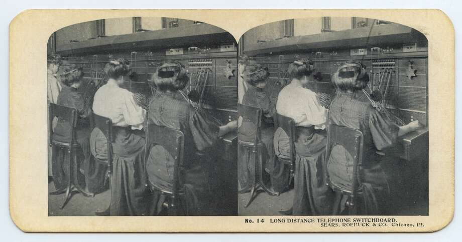 Stereoscopic view showing women at the great switchboard in the Sears Administration Building, Chicago, Illinois, circa 1900s. With rapid growth, the operators are in regular contact with factories and producers across the country. (Photo by Interim Archives/Getty Images) Photo: Interim Archives/Getty Images