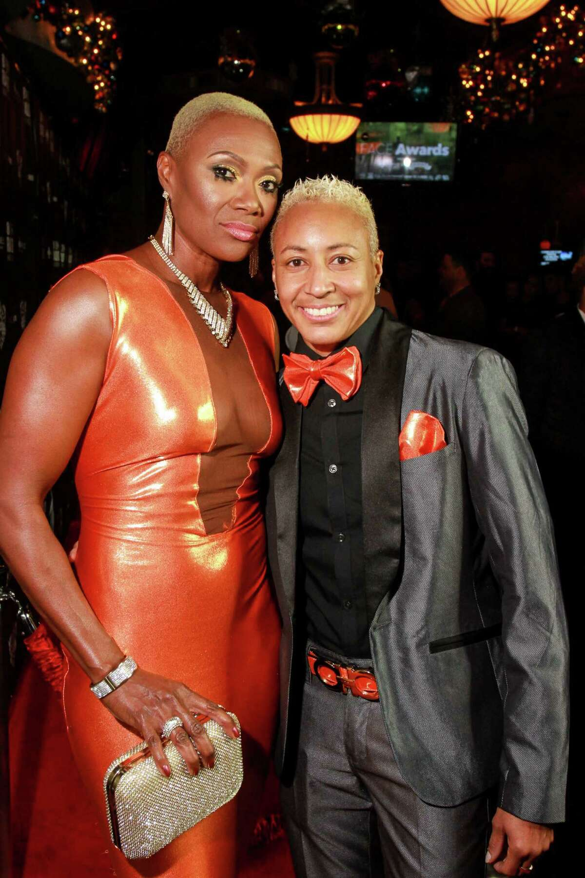 """Jolanda Jones, left, and Cherrise Traylor, of WEtv's """" Sisters In Law,"""" on the red carpet at the FACE Awards, honoring the LGBT community. (For the Chronicle/Gary Fountain, December 12, 2016)"""