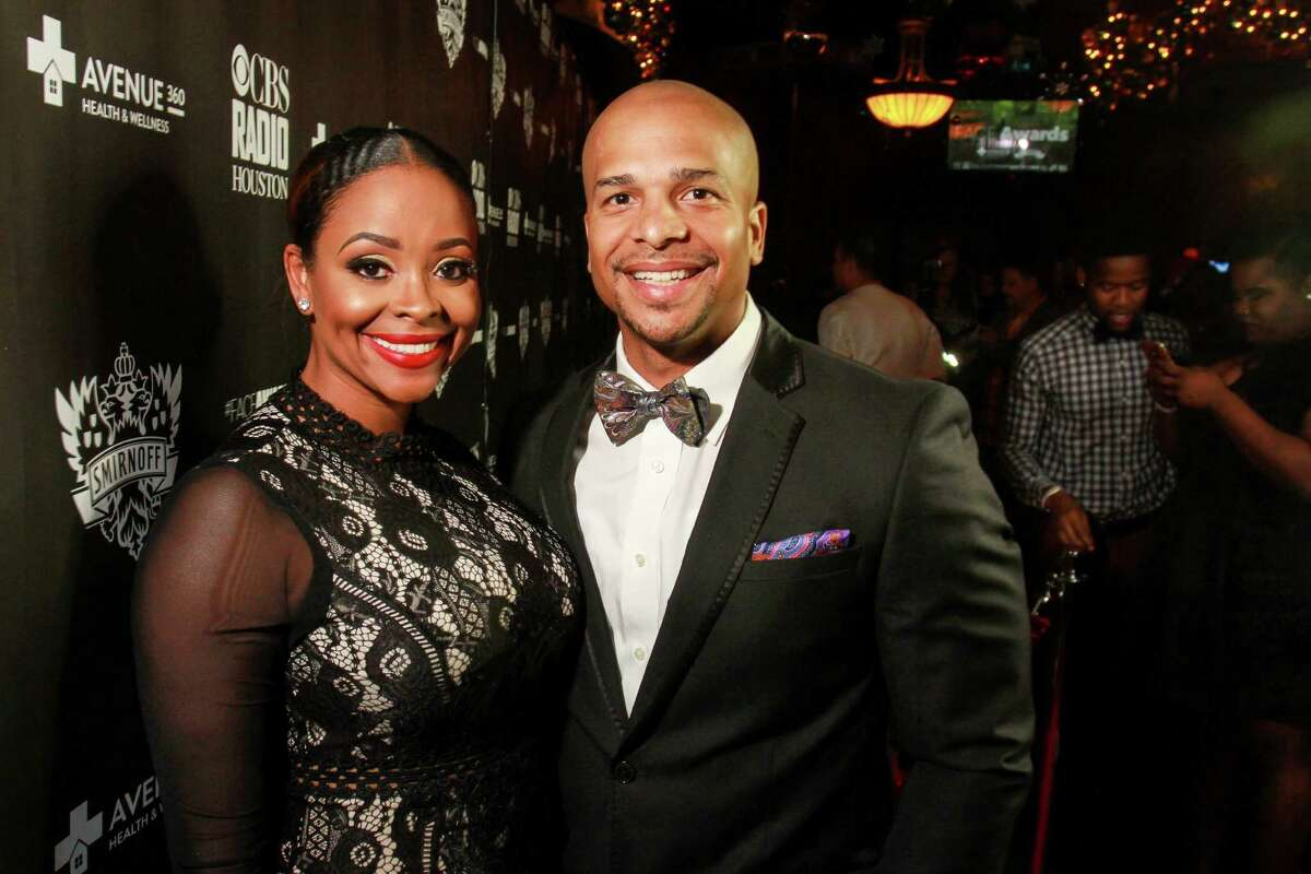 """'Married to Medicine' star Dr. Ashandra """"Shan'"""" Batiste, and her husband, Richard Cumby, on the red carpet at the FACE Awards, honoring the LGBT community. (For the Chronicle/Gary Fountain, December 12, 2016)"""