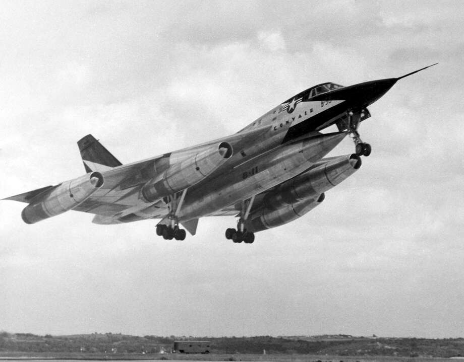 Convair XB-58 Hustler during takeoff. Note the landing gear is just beginning to retract. (U.S. Air Force photo)