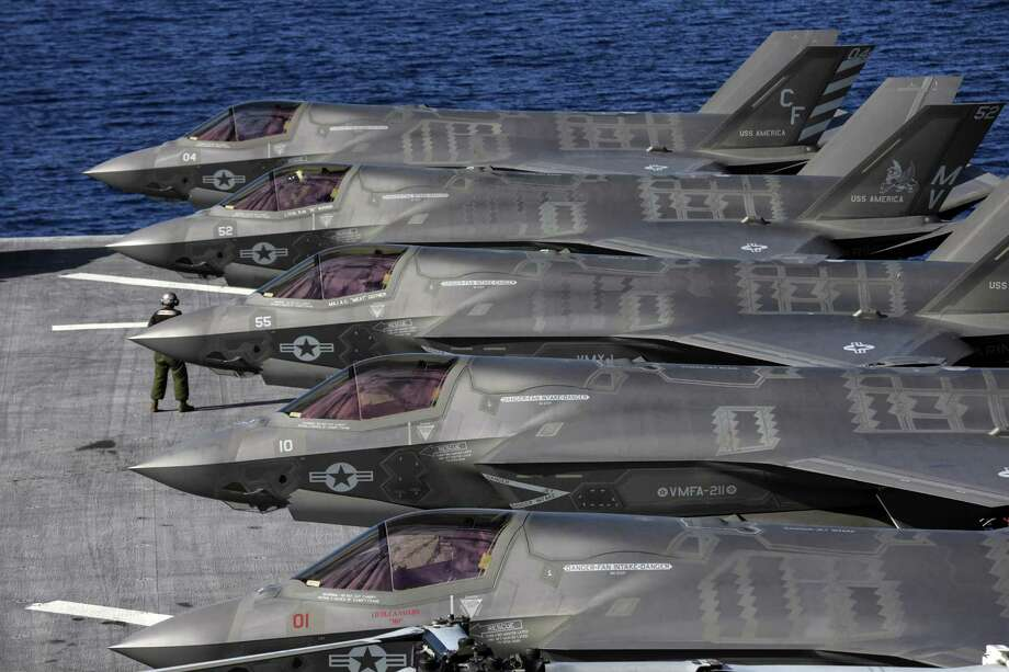 The Lockheed Martin F-35B Lightning II supersonic aircraft, which started its operational testing on the amphibious assault ship USS America. (Irfan Khan/Los Angeles Times/TNS) Photo: Irfan Khan, MBR / TNS / Los Angeles Times