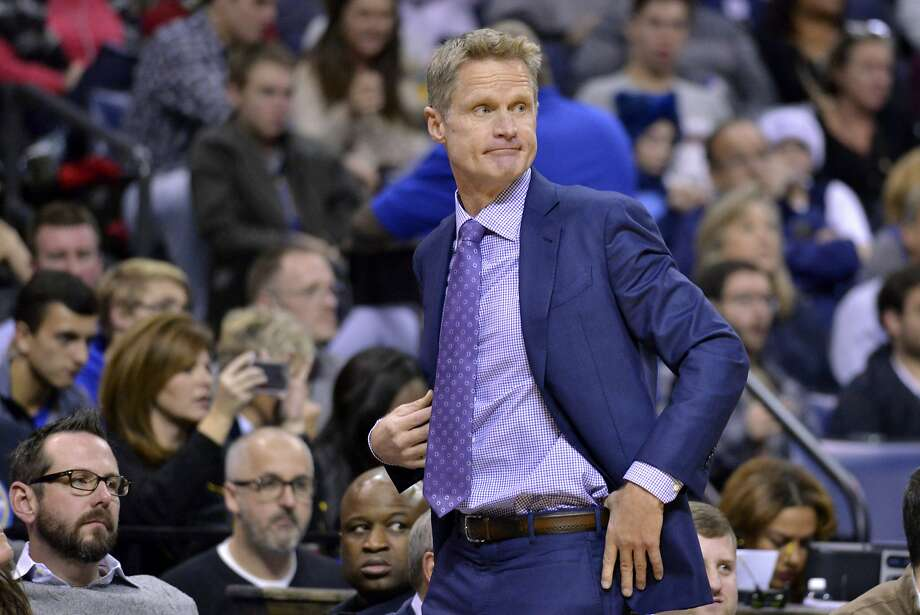 Golden State Warriors head coach Steve Kerr watches from the sideline in the first half of an NBA basketball game Saturday, Dec. 10, 2016, in Memphis, Tenn. (AP Photo/Brandon Dill) Photo: Brandon Dill, Associated Press