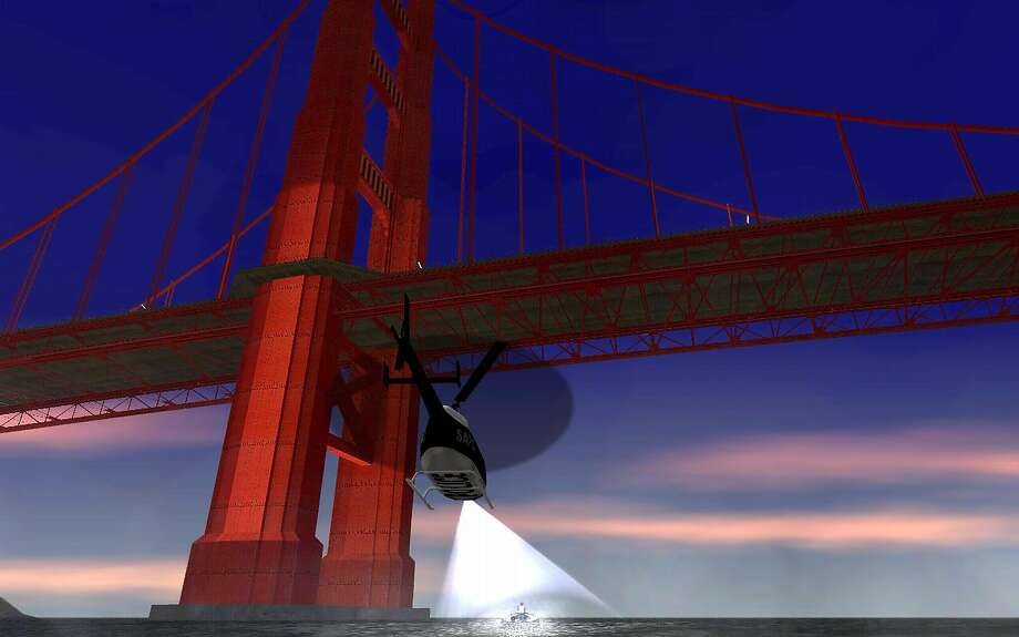 A helicopter flies under the Golden Gate Bridge in Grand Theft Auto: San Andreas. Photo: Courtesy Rockstar Games