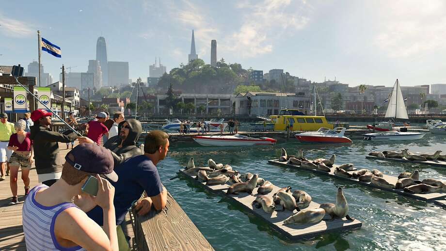 """Ubisoft's """"Watch Dogs 2"""" video game features such popular San Francisco tourist attractions as the sea lions around Fisherman's Wharf, but the farther it strays from the city, the more liberties it takes. Photo: Courtesy Ubisoft"""
