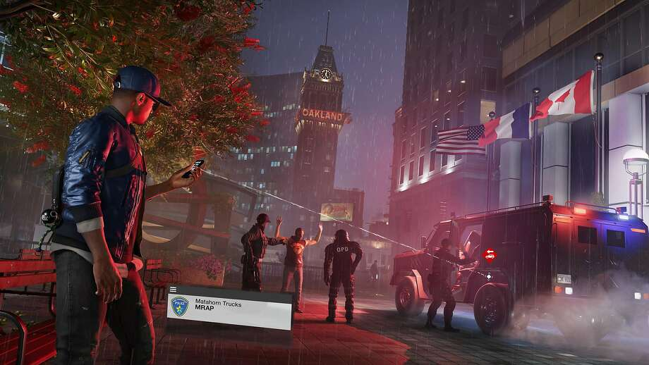"""The video game """"Watch Dogs 2"""" features an alternate reality San Francisco Bay Area, with photorealistic versions of major landmarks, along with a few changes to the map of the region. Photo: Courtesy Ubisoft"""