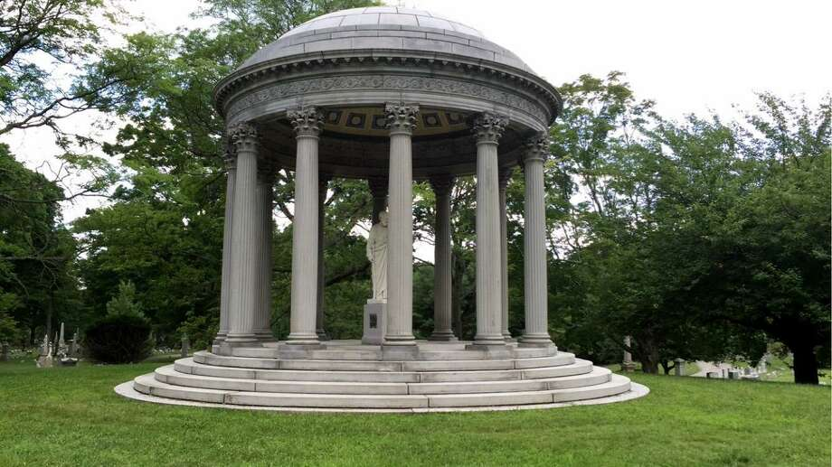 The Warner Mausoleum, in Mountain Grove Cemetery in Bridgeport, Conn. was repaired by Bria after vandals had left it broken for more than 30 years. Photo: Brandon Campbell / For Hearst Connecticut Media / Connecticut Post Freelance