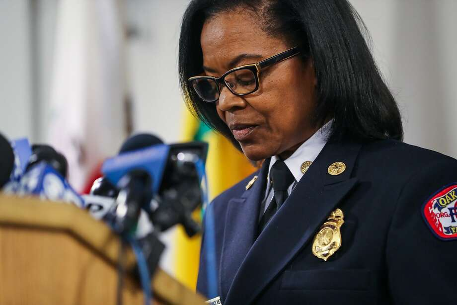 Oakland Fire Chief Teresa Deloach Reed pauses while speaking during a press conference regarding the status of the investigation of the fire that killed 36 at the Ghost Ship in Oakland, Calif., on Tuesday, Dec. 13, 2016. Photo: Gabrielle Lurie, The Chronicle
