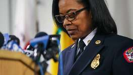 Oakland Fire Chief Teresa Deloach Reed pauses while speaking during a press conference regarding the status of the investigation of the fire that killed 36 at the Ghost Ship in Oakland, Calif., on Tuesday, Dec. 13, 2016.