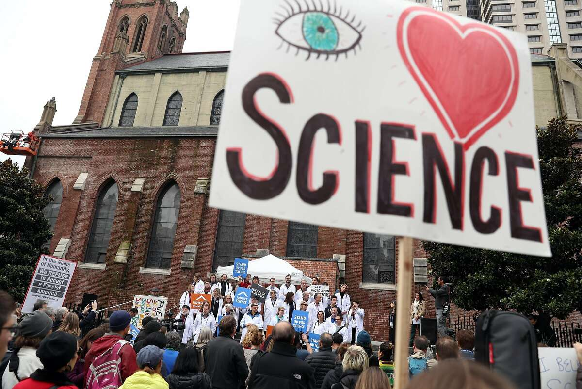 Harvard University's Naomi Oreskes speaks as scientists, in town for American Geophysical Union's Fall Meeting, rally for increased vigilance to defend climate science from attacks by the incoming presidential administration and Congress in San Francisco Calif., on Tuesday, December 13, 2016.
