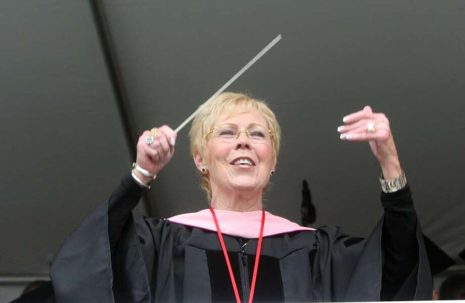 Dr Carole Ann Maxwell conducts during Fairfield University's commencement ceremony on Sunday, May 23, 2010. Photo: B.K. Angeletti / Connecticut Post