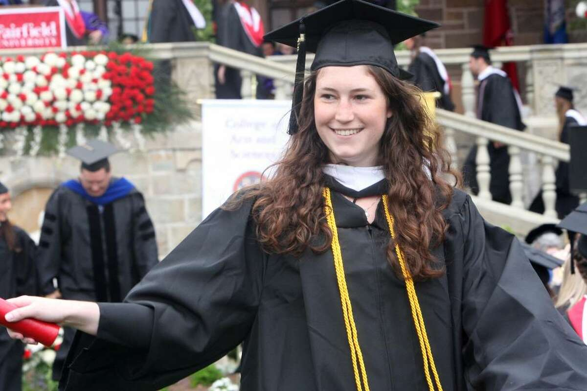 Jillian Kovalski, of MA, receives her diploma at Fairfield University's commencement ceremony on Sunday, May 23, 2010.