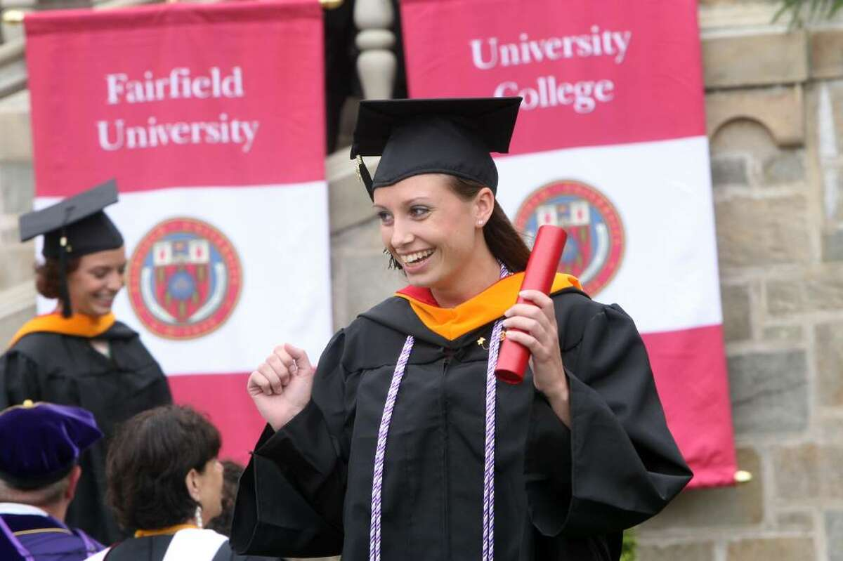 Sarah Fuller, of MA, receives her diploma at Fairfield University's commencement ceremony on Sunday, May 23, 2010.