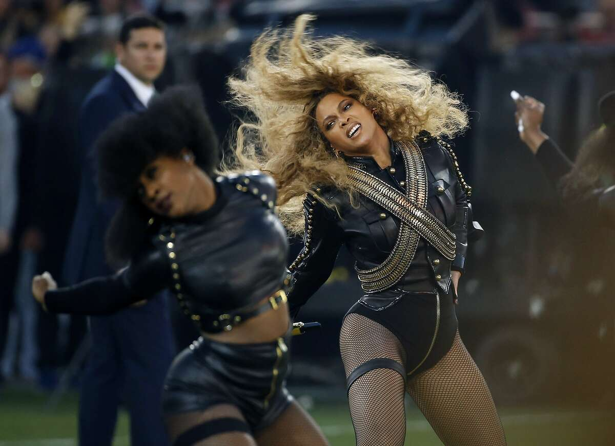 FILE - In this Sunday, Feb. 7, 2016, file photo, Beyonce performs during halftime of the NFL Super Bowl 50 football game in Santa Clara, Calif. The halftime show is allegedly headlined by Coldplay, but it's BEYONCE who rules with a commanding performance of her new song,