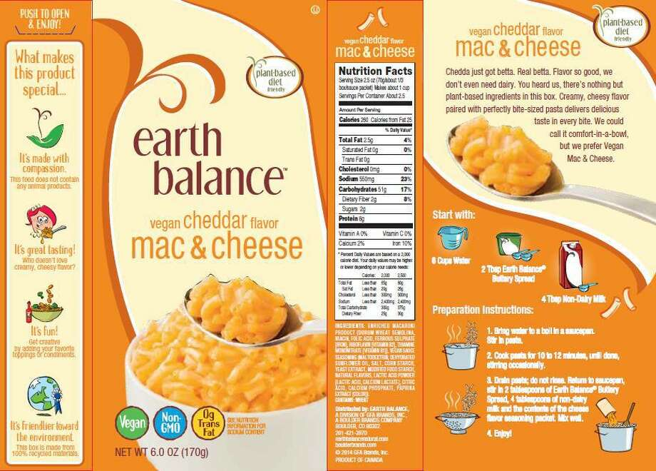 Boulder Brands Inc. is voluntarily recalling Earth Balance Vegan White Cheddar Mac & Cheese and Earth Balance Vegan Cheddar Mac & Cheese. Boulder Brands initiated the recall after being informed by consumers that the product may contain dairy. Photo: Contributed Photo