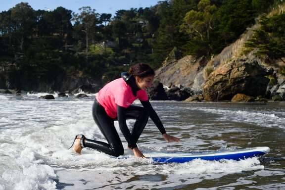Brown Girl Surf, based in Oakland, is one of these inspiring efforts. In just two years, it has connected 131 girls from Oakland, San Francisco, and the South Bay to the coast and ocean through surfing. Here, Leila Jahouach at Muir Beach, Nov. 5, 2016