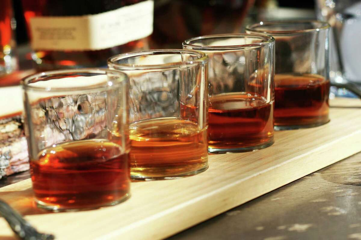 Whiskey flight from Bosscat Kitchen & Libations, a new restaurant and whiskey bar opening in January at 4310 Westheimer.