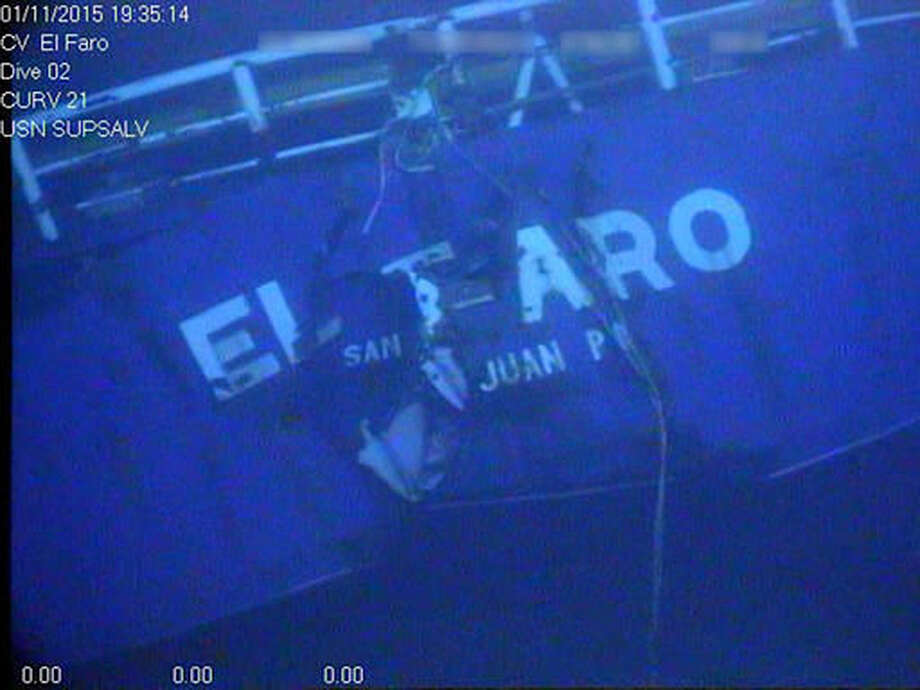 This undated image made from a video by the National Transportation Safety Board shows the stern of the sunken ship El Faro. Federal accident investigators are releasing a transcript of audio recovered from the bridge of the doomed freighter El Faro, which sank last year in a hurricane near the Bahamas. The recordings transcribed from the ship's voyage data recorder are set to be released Tuesday, Dec. 13, 2016, by the NTSB in Washington, D.C. (National Transportation Safety Board via AP) Photo: HOGP / NTSB