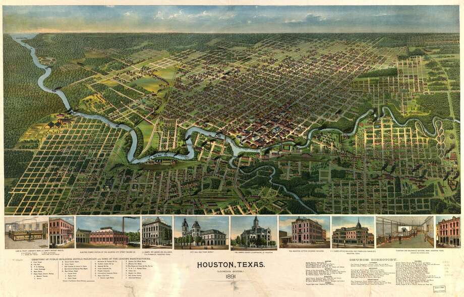 Library of Congress maps show an aerial view of early Texas