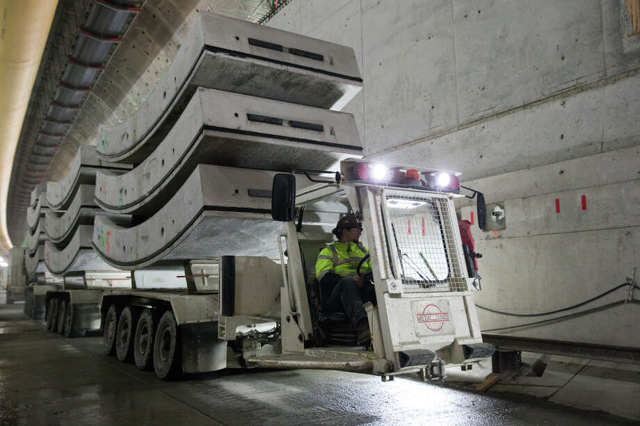 A complete ring is transported to Bertha, the tunneling machine, in the SR-99 tunnel, on Tuesday, Dec. 13, 2016. Photo: GRANT HINDSLEY, SEATTLEPI.COM / SEATTLEPI.COM