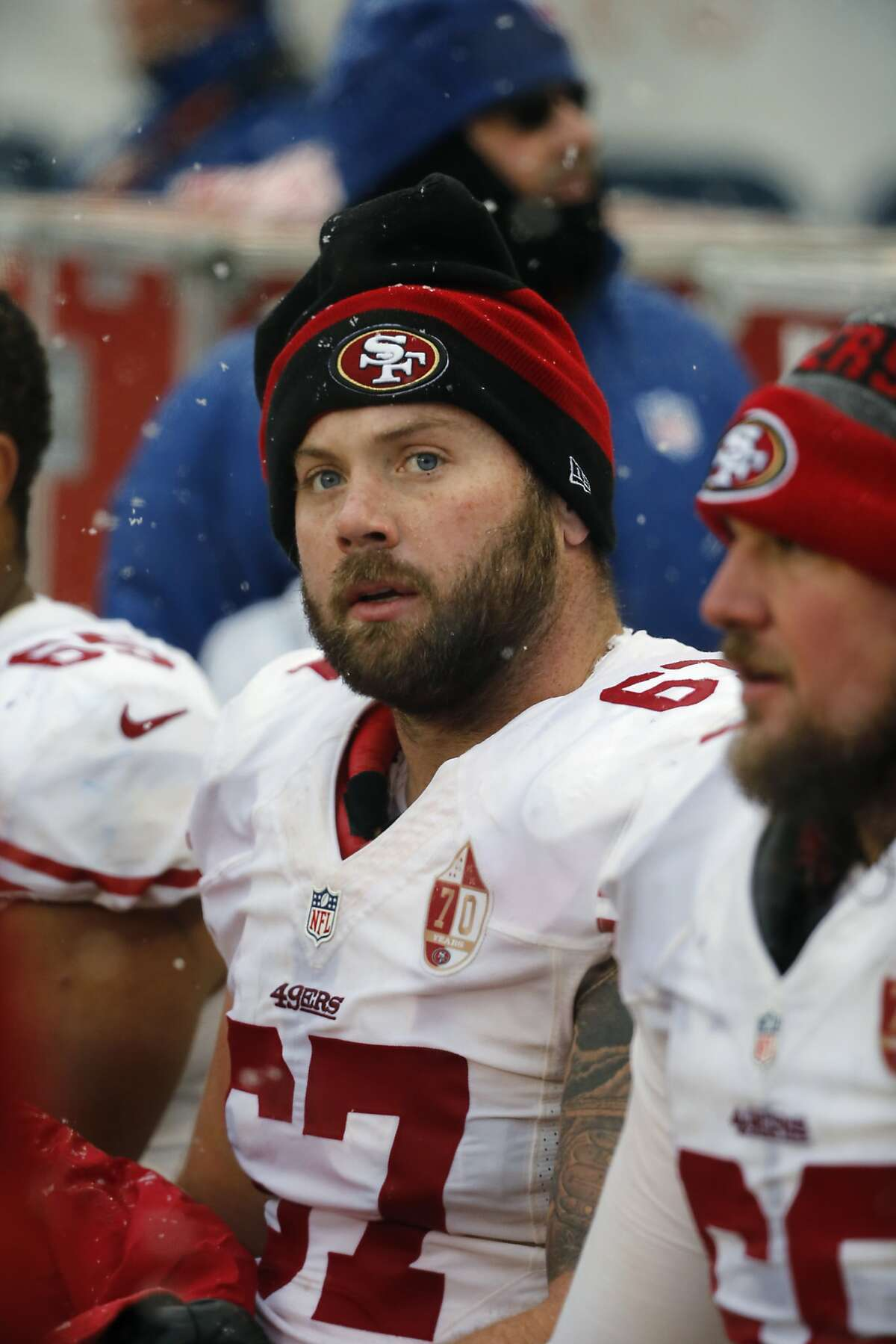 San Francisco 49ers center Daniel Kilgore (67) sits on the bench during the second half of an NFL football game against the Chicago Bears, Sunday, Dec. 4, 2016, in Chicago. (AP Photo/Charles Rex Arbogast)