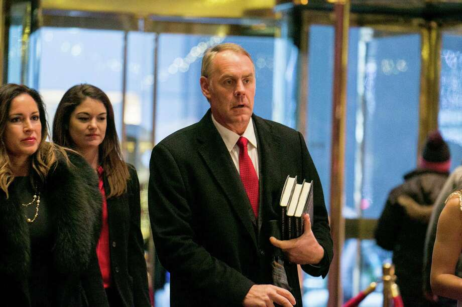 Rep. Ryan Zinke (R-Mont.) walks through the lobby of Trump Tower on Fifth Avenue in New York, Dec. 12, 2016. (Sam Hodgson/The New York Times) Photo: SAM HODGSON, STR / NYTNS