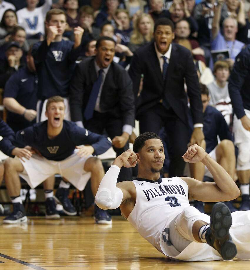 Villanova's Josh Hart reacts after hitting a shot and drawing a foul during the second half against Temple in Philadelphia. Photo: CHARLES FOX, TNS