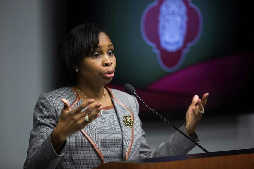 Mayor Ivy Taylor speaks during the Mayor's Council on Police Community Relations at City Hall in San Antonio, Texas on December 12, 2016.