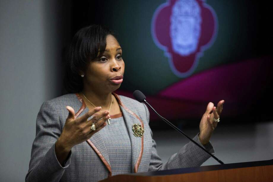 Mayor Ivy Taylor speaks during the Mayor's Council on Police Community Relations at City Hall in San Antonio, Texas on December 12, 2016. Photo: Ray Whitehouse /For The San Antonio Express-News / B641372596Z.1