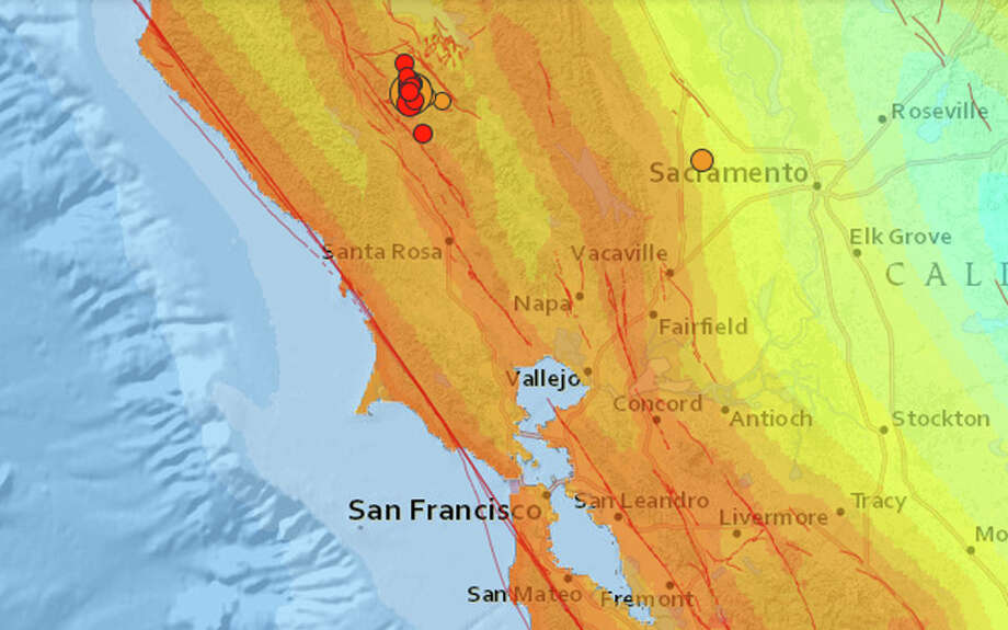 A magnitude 5.0 earthquake struck 4 miles west northwest of Geysers,  California at 8:41 this morning. Multiple aftershocks, including one of a magnitude 3.0, have followed the initial quake. Photo: USGS
