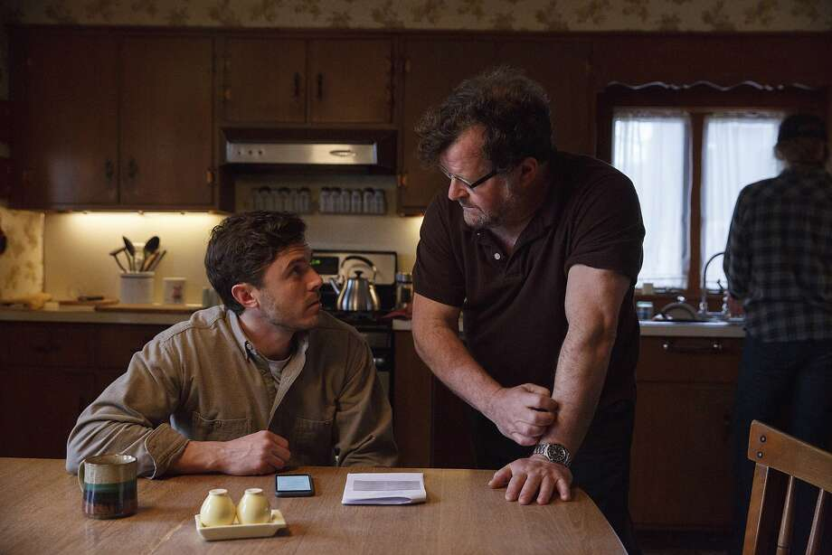 "Casey Affleck, left, with writer-director Kenneth Lonergan during the filming of ""Manchester By The Sea.""  Photo: Claire Folger, Associated Press"