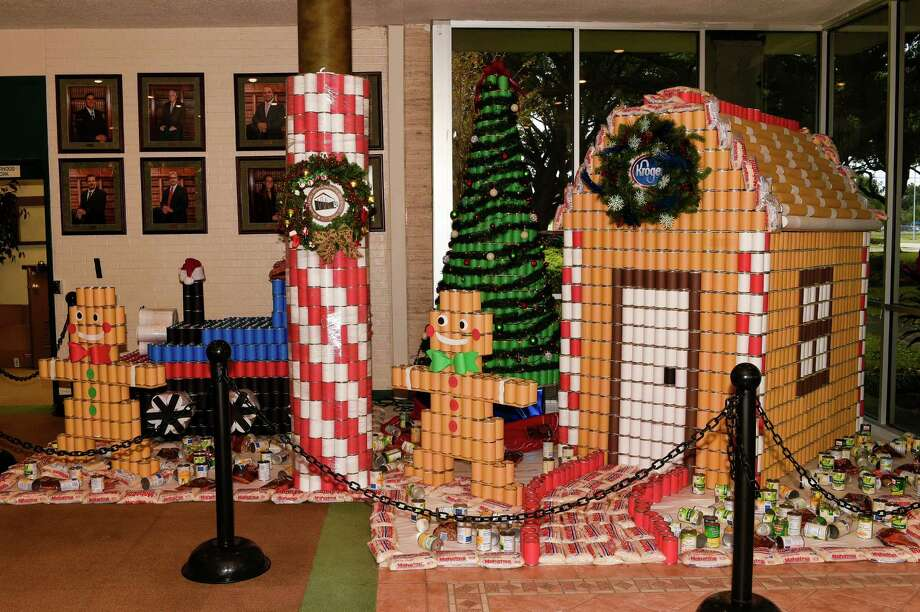 One of the scenes from the CANstruction Christmas display, a holiday card to the community, constructed at Pasadena City Hall by a group of robotics and engineering students at Kirk Lewis Career and Technical High School. Guests can see the display from 8 a.m.-5 p.m. Monday through Friday through Jan. 9.