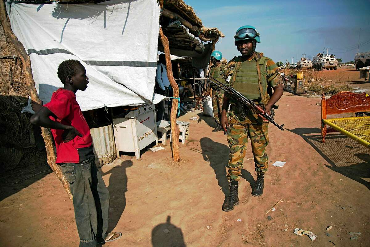 Peacekeeper troops from Ethiopia and deployed in the UN Interim Security Force for Abyei (UNISFA) patrol outside Abyei town, in Abyei state, on December 14, 2016. The Abyei Administrative Area is a disputed territory between Sudan and South Sudan with longstanding intercommunal tensions between the Ngok-Dinka ethnic majority and the pastoral Misseriya population, who migrate through the area seasonally from the north. An attack by Government of Sudan forces on Abyei in May 2011 displaced the majority of the Ngok Dinka population, approximately 105,000 people to areas south of the River Kiir, which became overcrowded and are suffering a huge competition over natural resources. / AFP PHOTO / ALBERT GONZALEZ FARRANALBERT GONZALEZ FARRAN/AFP/Getty Images