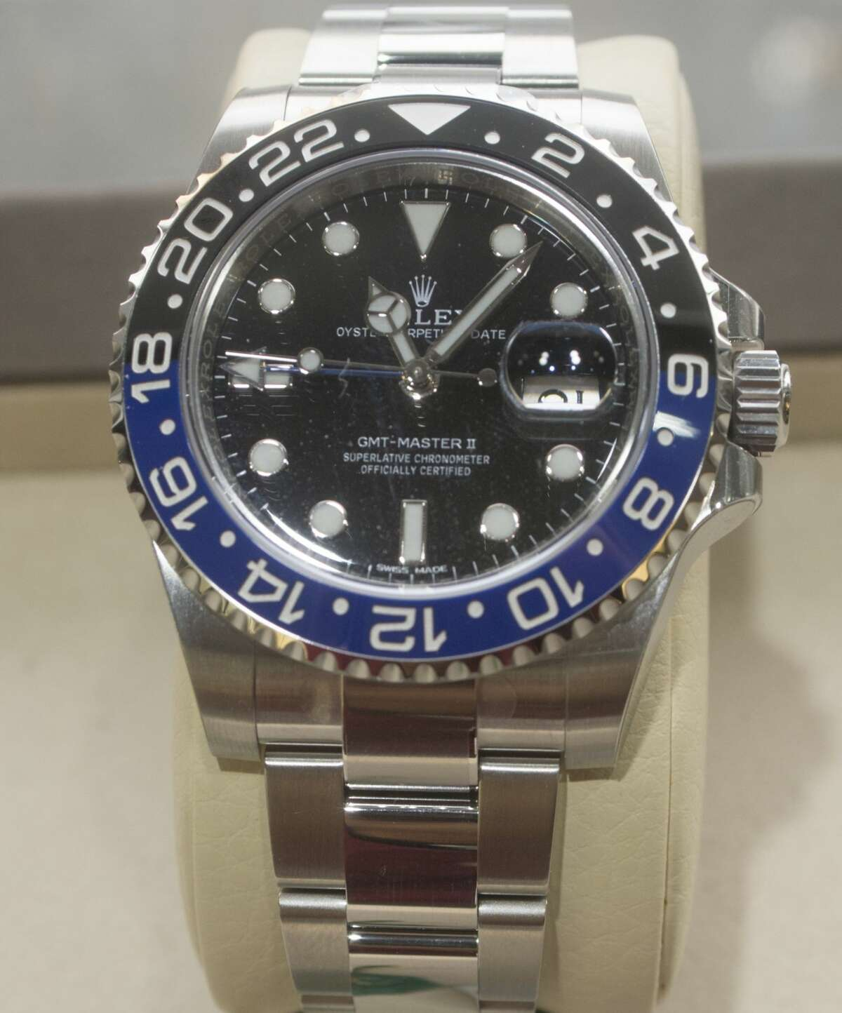The Rolex GMT-Master II is the choice for globetrotters. Its 24-hour bezel makes it easy to find the time in other time zones. This version is stainless steel and comes with a black and blue ceramic bezel. Photographed Dec. 14, 2016, at Cristiani's Jewelers in Midland. Tim Fischer/Reporter-Telegram
