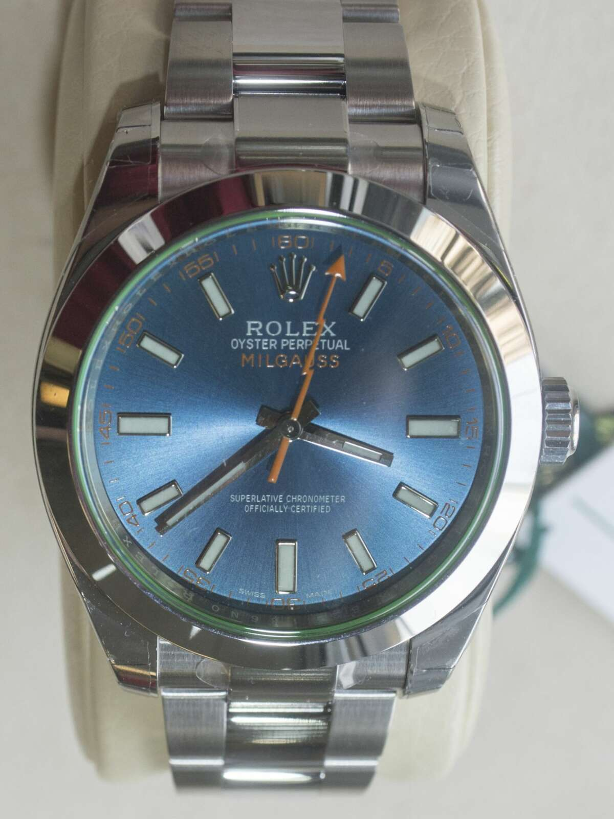 The Rolex Milgauss is easily recognizable by its lightning bolt second hand and its key characteristic is not being affected by strong magnetic fields, making it the choice for scientists and engineers, though it's also popular with people seeking just a bit of flair. This version has a blue dial with green sapphire crystal and a 40 mm case. Photographed Dec. 14, 2016, at Cristiani's Jewelers in Midland. Tim Fischer/Reporter-Telegram