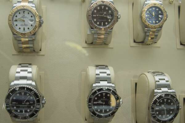 A few of the Rolex watches available at Cristiani's Jewelers Wednesday 12-14-16. Tim Fischer/Reporter-Telegram
