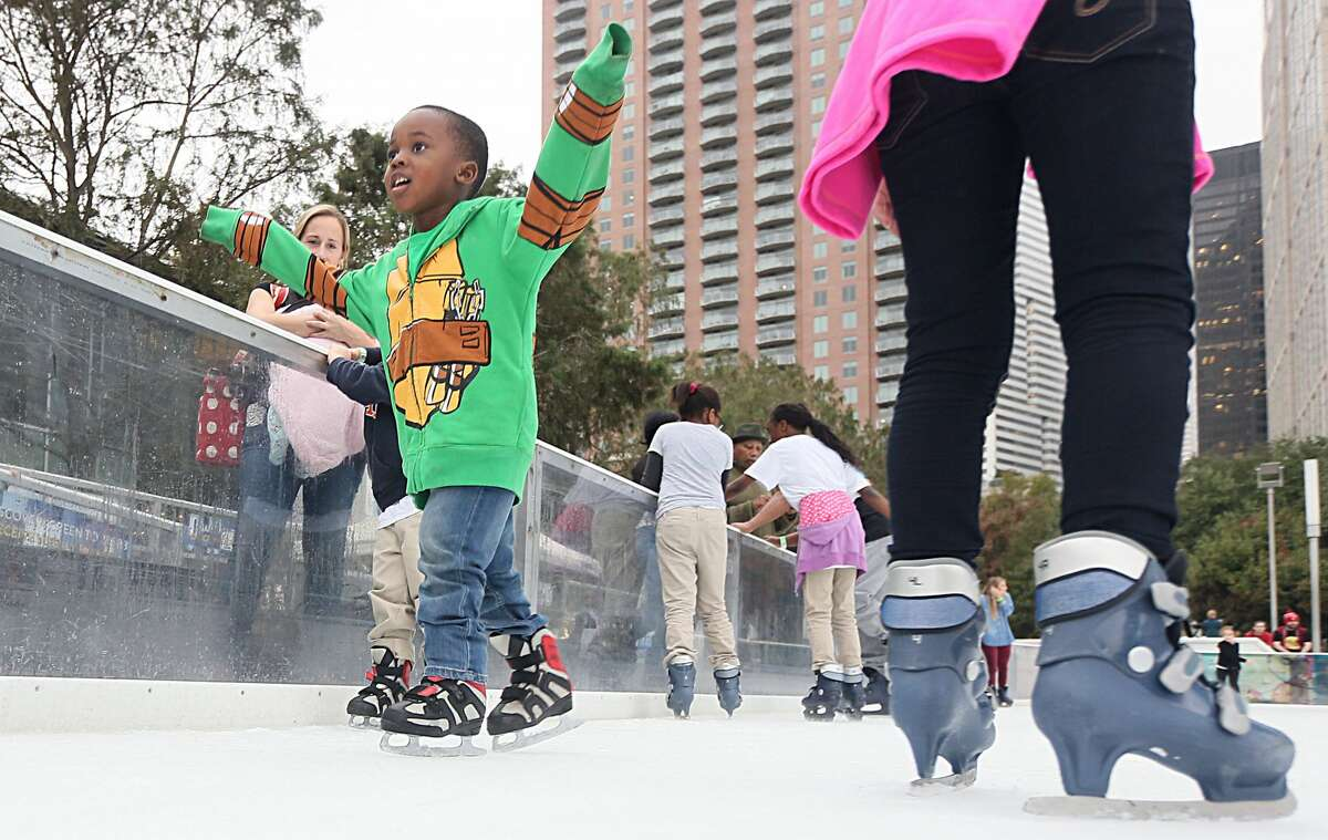 The #YearOfJoy Holiday Ice Skating Party at ICE powered by Green Mountain Energy at Discovery Green on Monday, Dec. 12.
